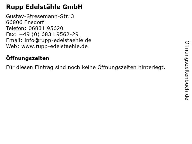 Rupp Edelstähle GmbH in Ensdorf: Adresse und Öffnungszeiten