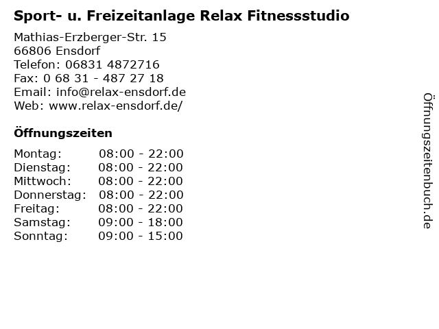 Sport- u. Freizeitanlage Relax Fitnessstudio in Ensdorf: Adresse und Öffnungszeiten