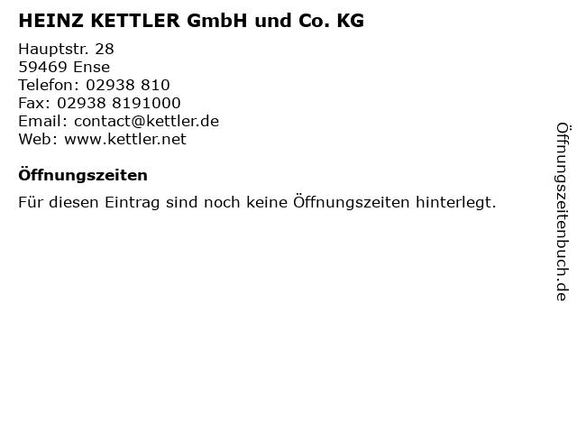 ᐅ Offnungszeiten Heinz Kettler Gmbh Und Co Kg Hauptstr 28 In Ense