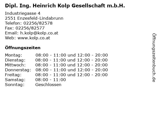 Dipl. Ing. Heinrich Kolp Gesellschaft m.b.H. in Enzesfeld-Lindabrunn: Adresse und Öffnungszeiten