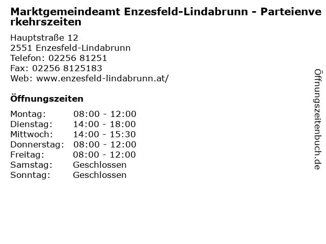 Marktgemeindeamt Enzesfeld-Lindabrunn - Parteienverkehrszeiten in Enzesfeld-Lindabrunn: Adresse und Öffnungszeiten