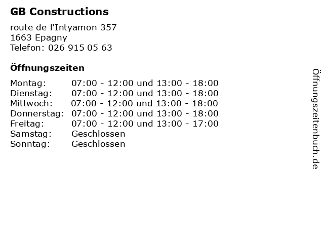 GB Constructions in Epagny: Adresse und Öffnungszeiten