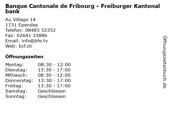 Banque Cantonale de Fribourg - Freiburger Kantonalbank in Ependes: Adresse und Öffnungszeiten