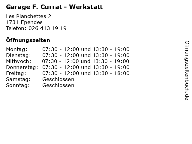 Garage F. Currat - Werkstatt in Ependes: Adresse und Öffnungszeiten