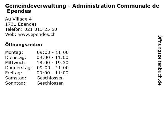 Gemeindeverwaltung - Administration Communale de Ependes in Ependes: Adresse und Öffnungszeiten
