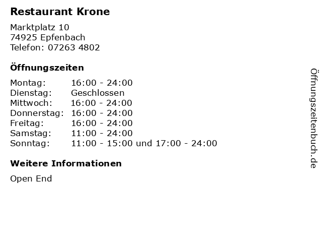 Restaurant Krone in Epfenbach: Adresse und Öffnungszeiten