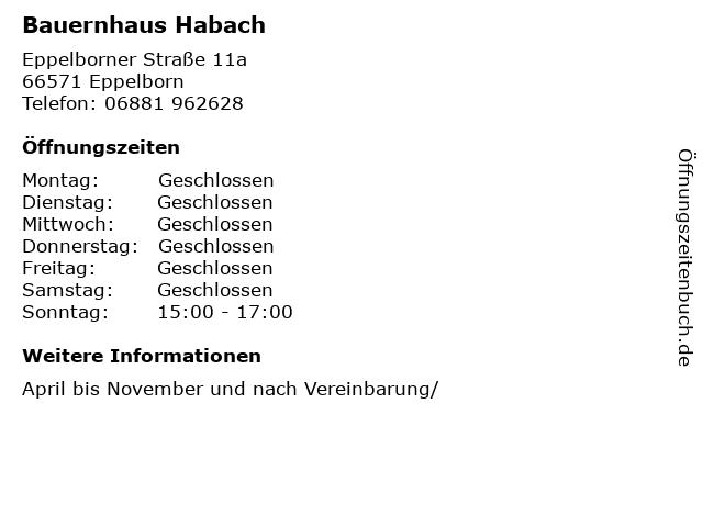 Bauernhaus Habach in Eppelborn: Adresse und Öffnungszeiten