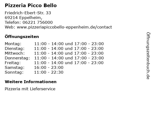Pizzeria Picco Bello in Eppelheim,: Adresse und Öffnungszeiten