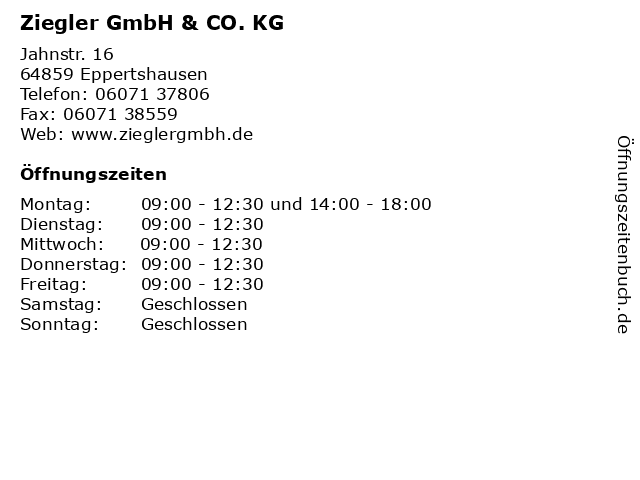 Ziegler GmbH & CO. KG in Eppertshausen: Adresse und Öffnungszeiten