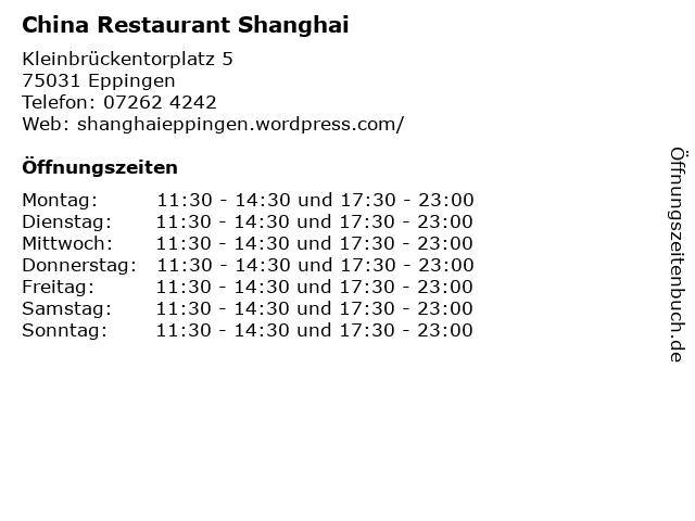 China Restaurant Shanghai in Eppingen: Adresse und Öffnungszeiten