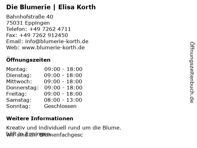 Margit Korth Blumengeschäft in Eppingen: Adresse und Öffnungszeiten