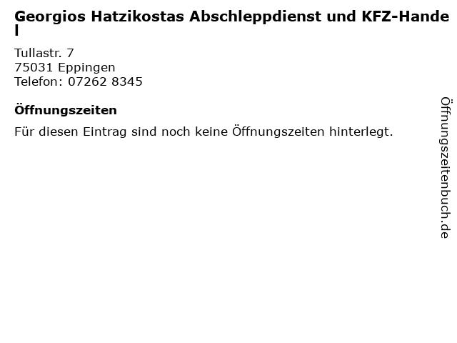 Georgios Hatzikostas Abschleppdienst und KFZ-Handel in Eppingen: Adresse und Öffnungszeiten