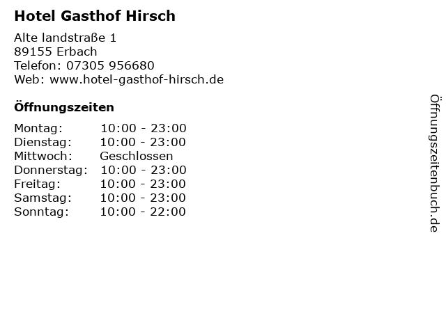 Hotel Gasthof Hirsch in Erbach: Adresse und Öffnungszeiten