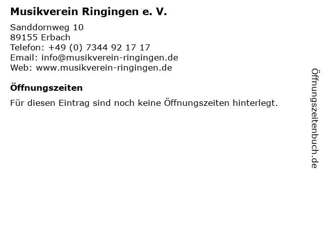 Musikverein Ringingen e. V. in Erbach: Adresse und Öffnungszeiten