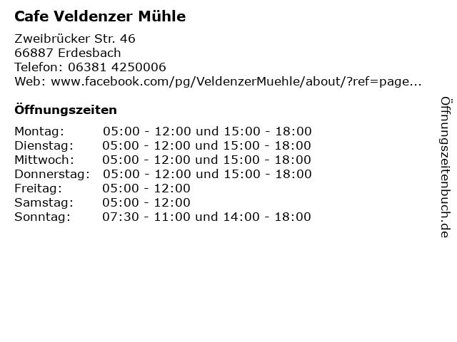 Cafe Veldenzer Mühle in Erdesbach: Adresse und Öffnungszeiten