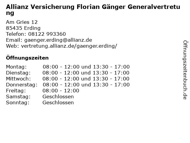 Allianz Vertretung Florian Gänger in Erding: Adresse und Öffnungszeiten