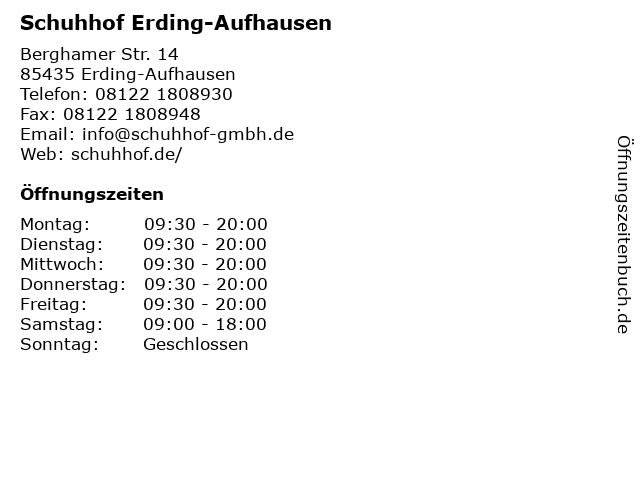 Schuhhof Erding-Aufhausen in Erding-Aufhausen: Adresse und Öffnungszeiten