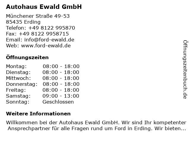 Autohaus Ewald - Werkstatt & Service in Erding: Adresse und Öffnungszeiten