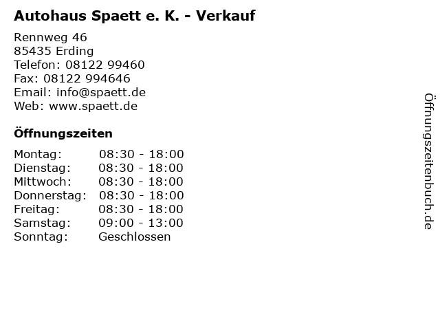 Autohaus Spaett e. K. - Verkauf in Erding: Adresse und Öffnungszeiten
