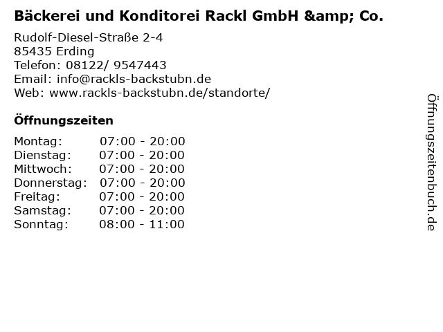 Bäckerei und Konditorei Rackl GmbH & Co. in Erding: Adresse und Öffnungszeiten