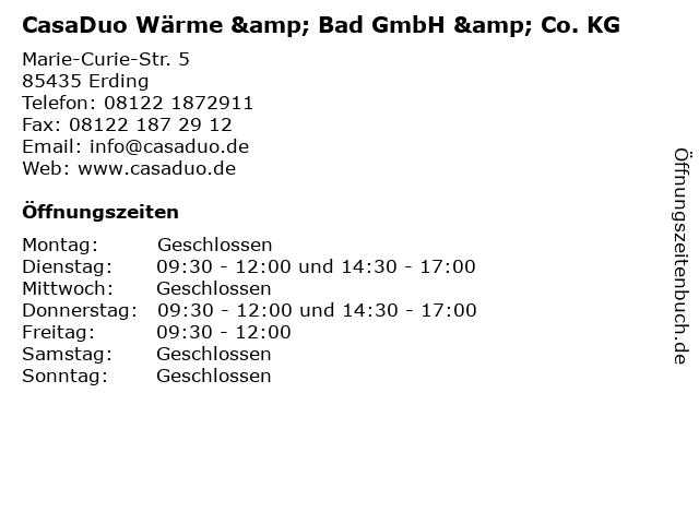 CasaDuo Wärme & Bad GmbH & Co. KG in Erding: Adresse und Öffnungszeiten