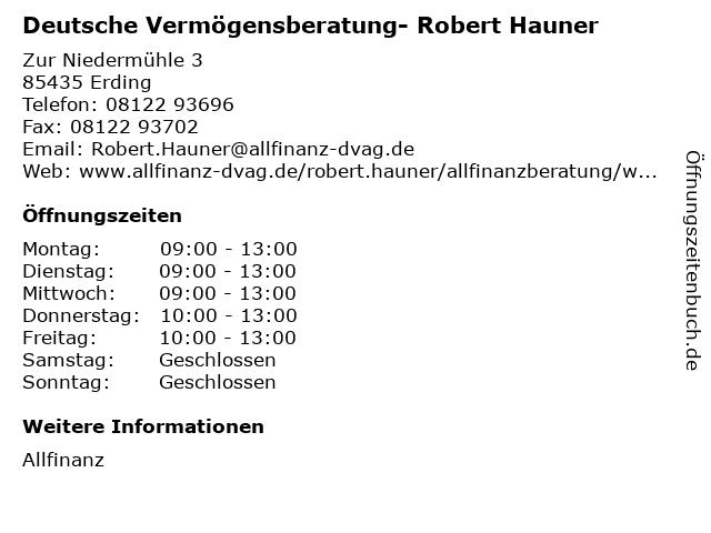 Deutsche Vermögensberatung- Robert Hauner in Erding: Adresse und Öffnungszeiten