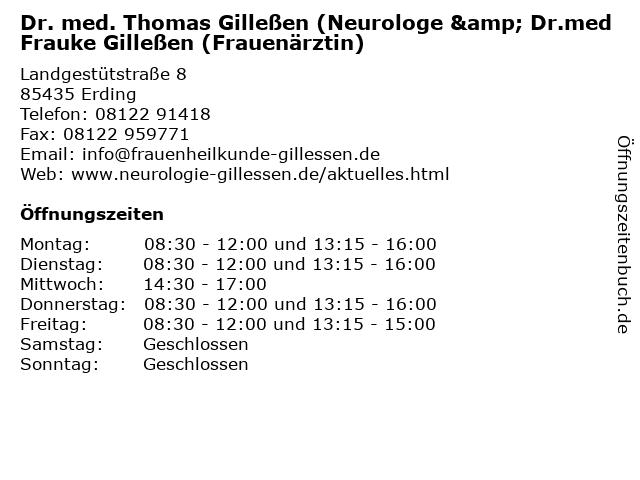 Dr. med. Thomas Gilleßen (Neurologe & Dr.med Frauke Gilleßen (Frauenärztin) in Erding: Adresse und Öffnungszeiten