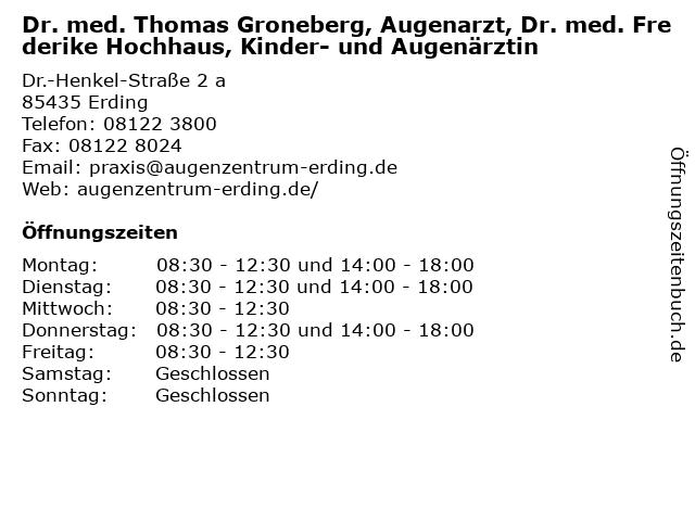Dr. med. Thomas Groneberg, Augenarzt, Dr. med. Frederike Hochhaus, Kinder- und Augenärztin in Erding: Adresse und Öffnungszeiten