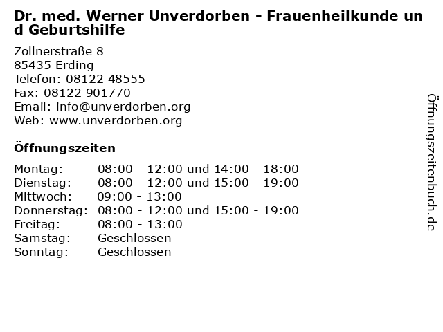 Dr. med. Werner Unverdorben - Frauenheilkunde und Geburtshilfe in Erding: Adresse und Öffnungszeiten