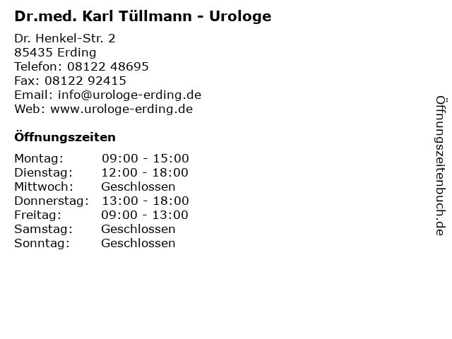 Dr.med. Karl Tüllmann - Urologe in Erding: Adresse und Öffnungszeiten