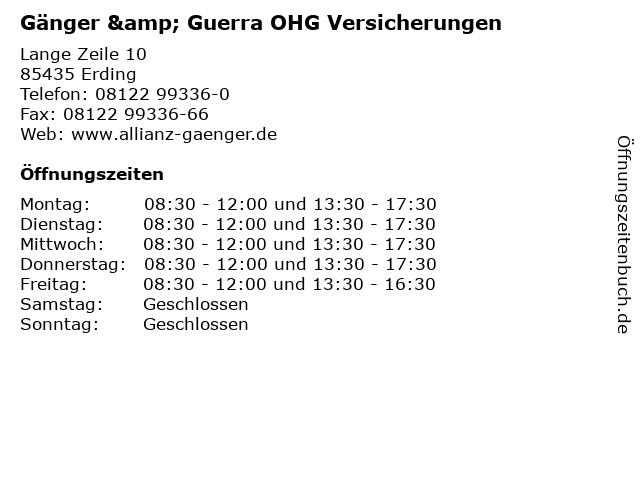 Gänger & Guerra OHG Versicherungen in Erding: Adresse und Öffnungszeiten