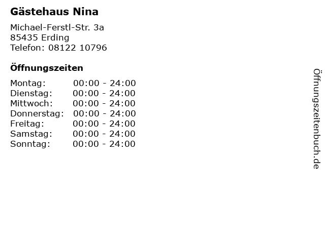 Gästehaus Nina in Erding: Adresse und Öffnungszeiten