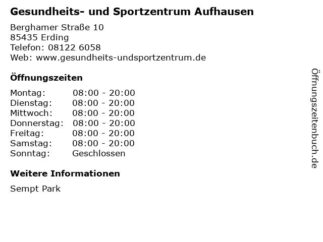 Gesundheits- und Sportzentrum Aufhausen in Erding: Adresse und Öffnungszeiten