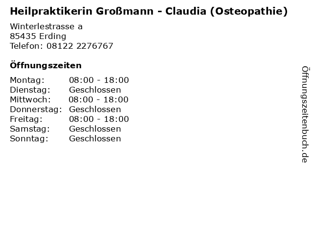 Heilpraktikerin Großmann - Claudia (Osteopathie) in Erding: Adresse und Öffnungszeiten