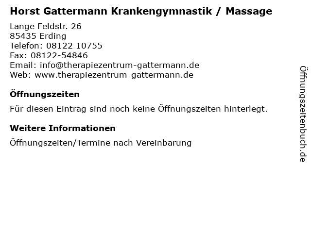 Horst Gattermann Krankengymnastik / Massage in Erding: Adresse und Öffnungszeiten