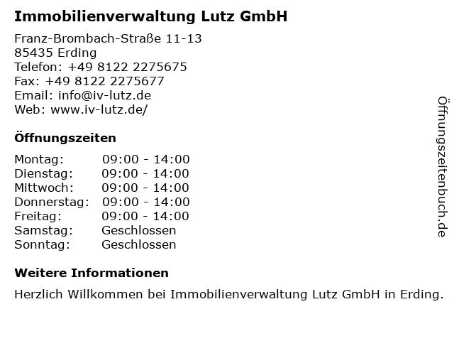 Immobilienverwaltung Lutz GmbH in Erding: Adresse und Öffnungszeiten