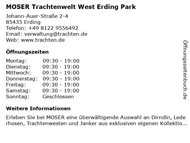MOSER Trachtenwelt West Erding Park in Erding: Adresse und Öffnungszeiten