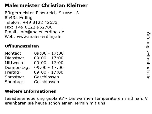 Malermeister Christian Kleitner in Erding: Adresse und Öffnungszeiten