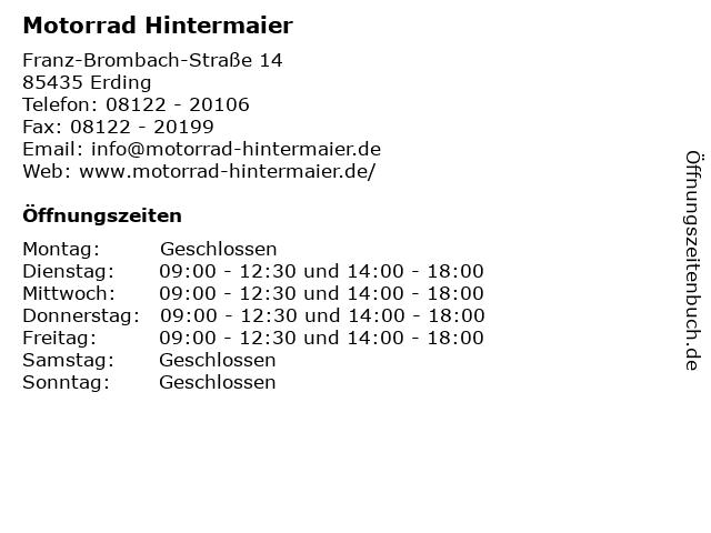Motorrad Hintermaier in Erding: Adresse und Öffnungszeiten