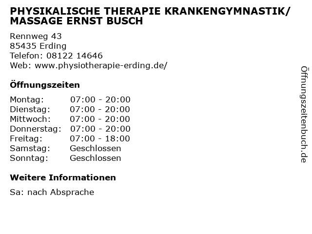 PHYSIKALISCHE THERAPIE KRANKENGYMNASTIK/MASSAGE ERNST BUSCH in Erding: Adresse und Öffnungszeiten