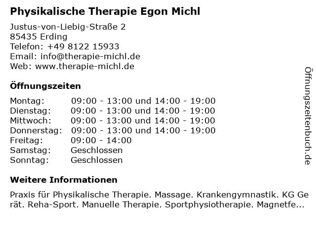 Physikalische Therapie Egon Michl in Erding: Adresse und Öffnungszeiten