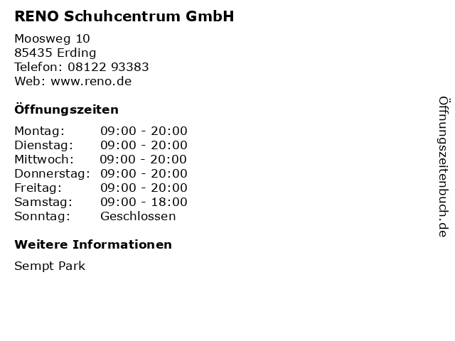 RENO Schuhcentrum GmbH in Erding: Adresse und Öffnungszeiten