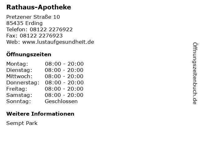 Rathaus-Apotheke in Erding: Adresse und Öffnungszeiten