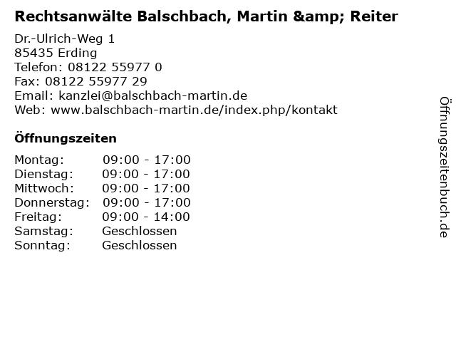 Rechtsanwälte Balschbach, Martin & Reiter in Erding: Adresse und Öffnungszeiten