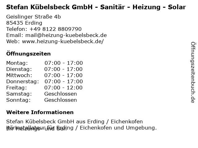 Stefan Kübelsbeck GmbH Sanitär-Heizung-Solartechnik in Erding: Adresse und Öffnungszeiten