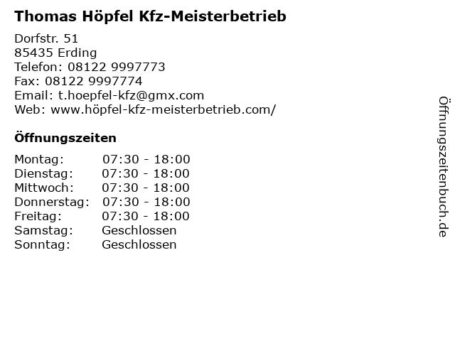 Thomas Höpfel Kfz-Meisterbetrieb in Erding: Adresse und Öffnungszeiten