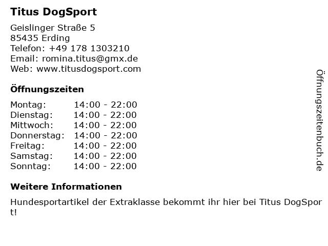 Titus DogSport in Erding: Adresse und Öffnungszeiten