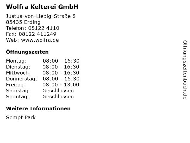 Wolfra Kelterei GmbH in Erding: Adresse und Öffnungszeiten