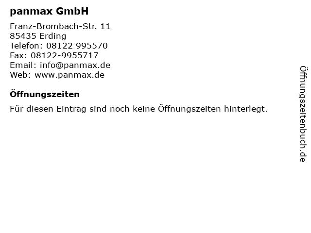 panmax GmbH in Erding: Adresse und Öffnungszeiten