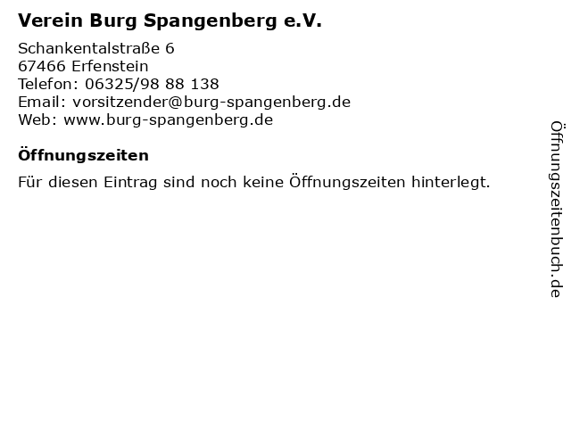 Verein Burg Spangenberg e.V. in Erfenstein: Adresse und Öffnungszeiten